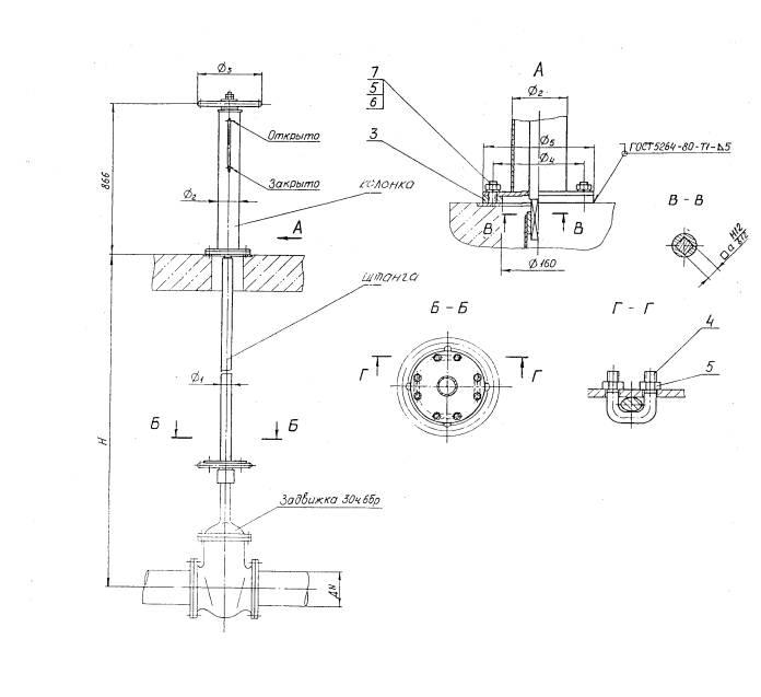 Схематическое изображение колонки управления задвижкой с ручным приводом